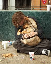 homeless with dog